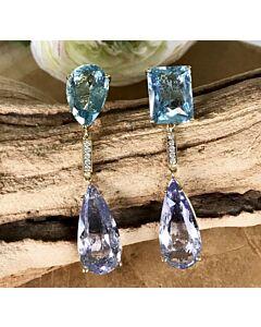 Aquamarine and Blue Beryl Earrings