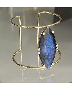 Labradorite and Diamond Cuff Bracelet