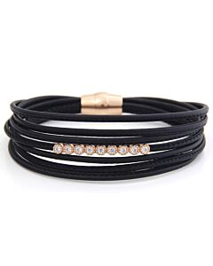 White Sapphire and Leather Bracelet in Rose