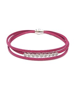 Dark Pink Leather Bracelet with White Sapphires
