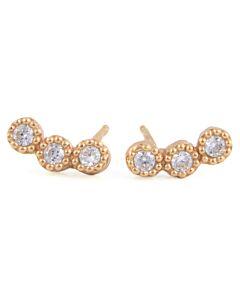 White Sapphire Stud Earrings in Rose
