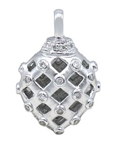 Puffed Lattice Pendant with Diamonds