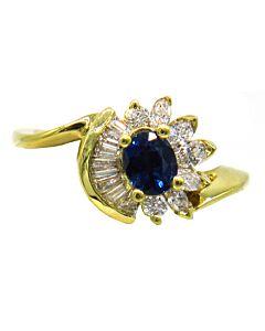 Sapphire and Diamond Swirl Ring