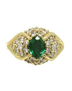 Domed Emerald and Diamond Ring