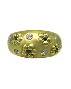 Domed Gold Ring with Flowers