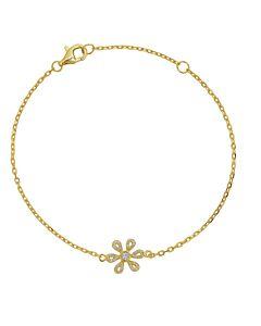 Petite Chain Bracelet with Diamond Flower