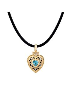 Blue Topaz and Diamond Heart Pendant
