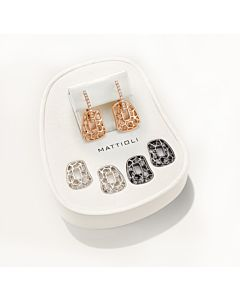 Tri-color Puzzle Earrings with Diamonds