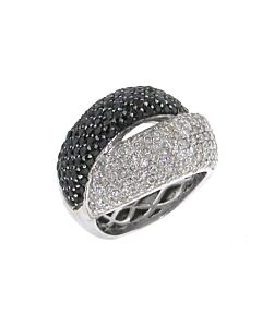 Italian Designer Black and White Diamond Ring
