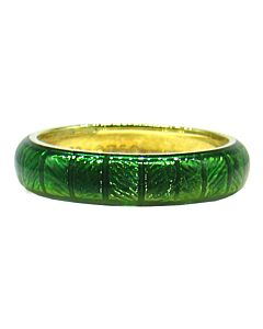 Yellow Gold, Green Enamel Insert Ring
