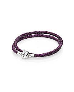 PANDORA Double Purple Shimmer Leather Bracelet