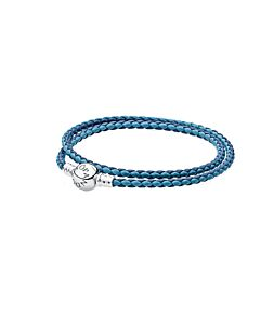 Woven Mixed Blue double leather bracelet