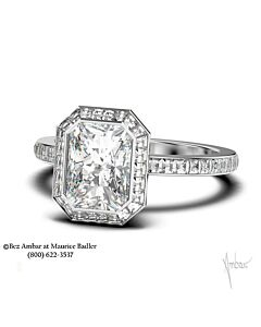 18k Emerald Cut Diamond Ring Mounting