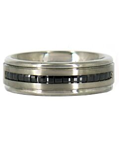 Men's Titanium Black Diamond Ring