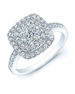 14K Gold Square Top Diamond Ring