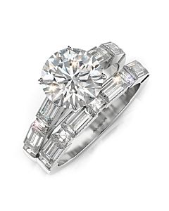 Blaze and Baguette Diamond Engagement Ring
